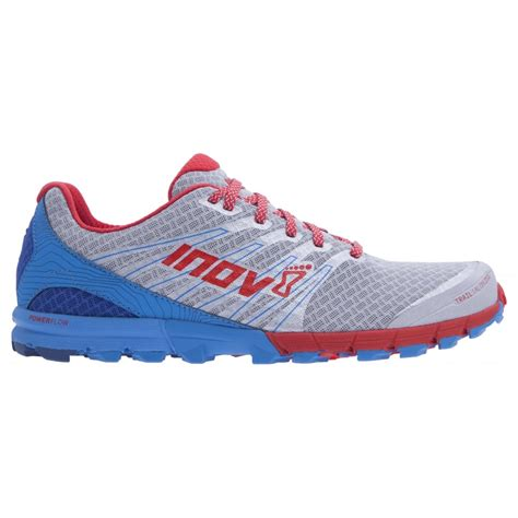 fitting a running shoe the inov8 trail talon 250 for in silver blue and