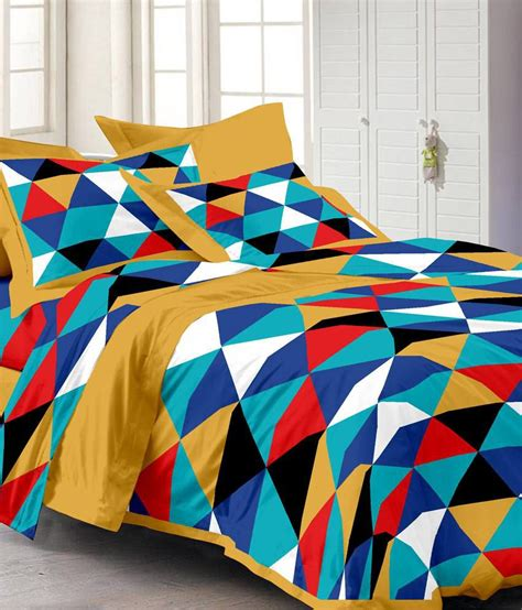 abstract bedding story home yellow cotton abstract double bed sheet buy story home yellow cotton