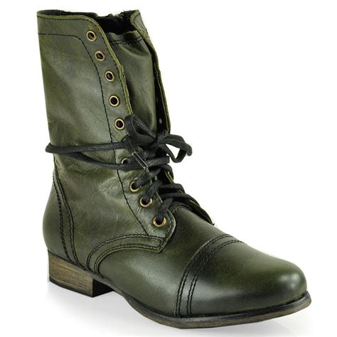 combat boot steve madden troopa combat boot in green lyst