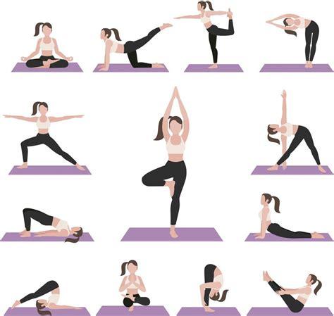 imagenes ejercicios yoga 白衣黑裤子紫色瑜伽垫卡通女性瑜伽动作姿势姿态图标图案元素矢量素材 素材公社 tooopen com