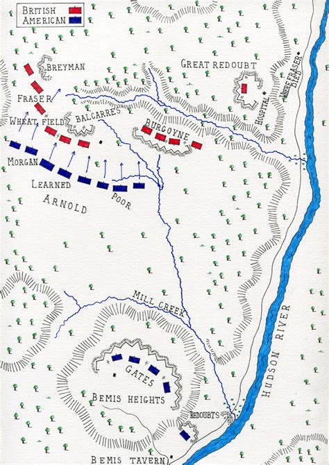 american battles map battle of saratoga