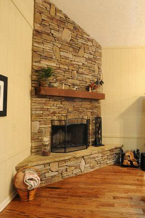 corner stone fireplace stacked stone corner fireplace a new house great room
