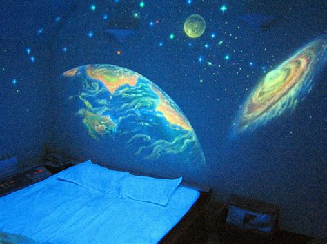 glow in the paint universe blue planet room space universe image 67195