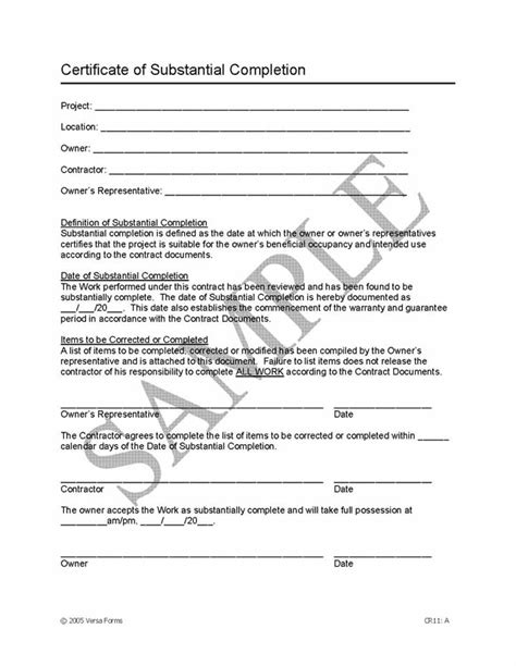 certificate of substantial completion template construction bid sheet free