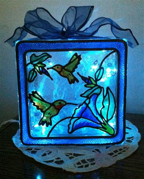 how to make glass blocks with lights lighted gallery glass hummingbird light block made with