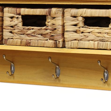 Coat Rack With Storage Baskets by Pine Finish 3 Hook Hallway Tidy Wall Coat Rack Hanger