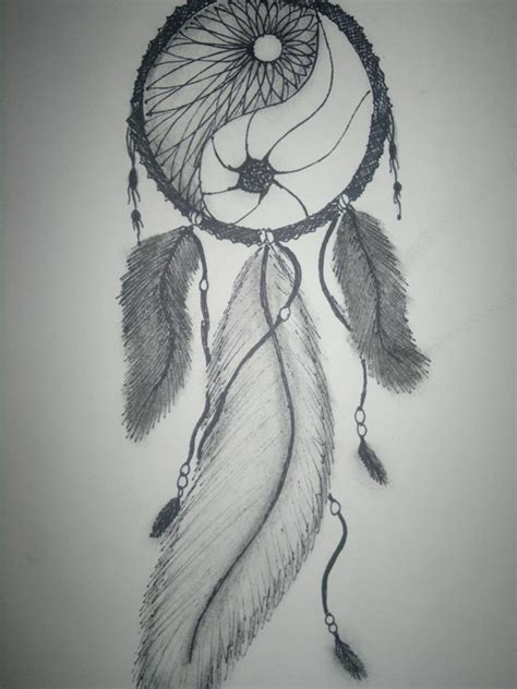 yin yang dreamcatcher tattoo own drawing dream catcher ying and yang feathers beads