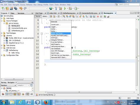 membuat setter dan getter di java tutorial dan source code quot membuat delete dan update dengan