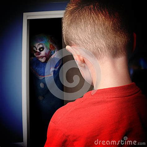 scary clown in bedroom scary monster clown in boys closet royalty free stock
