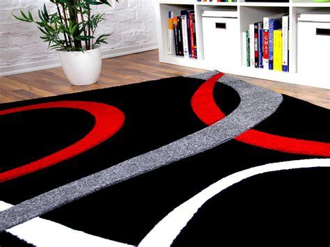 teppich rot schwarz designer teppich schwarz rot loops teppiche