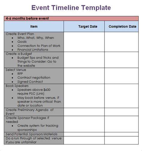 Free Meeting Planning Templates Event Timeline Template Excel Calendar Template Excel