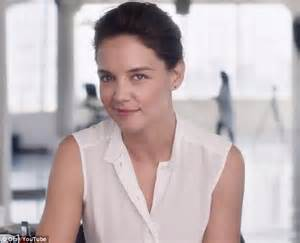 sophisticated makeup for 35 years old katie holmes in new anti aging olay ad as the brand s