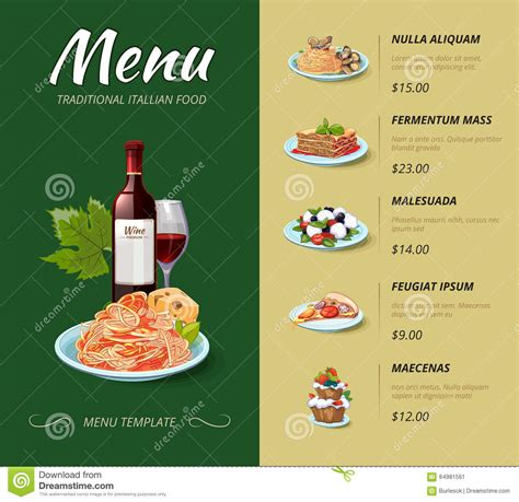 italian cuisine restaurant menu vector design stock