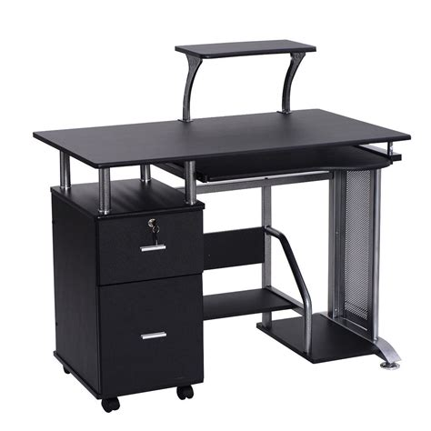 Black Computer Desk With Printer Shelf Desks Office
