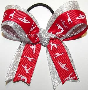 Ribbon For Hair That Says Gymnastics | gymnastics red silver ponytail holder bow red gymnast