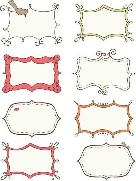 Custom Crops Free Scrapbook Elements Labels Printables Pinterest Doodle Frames Label Border Templates