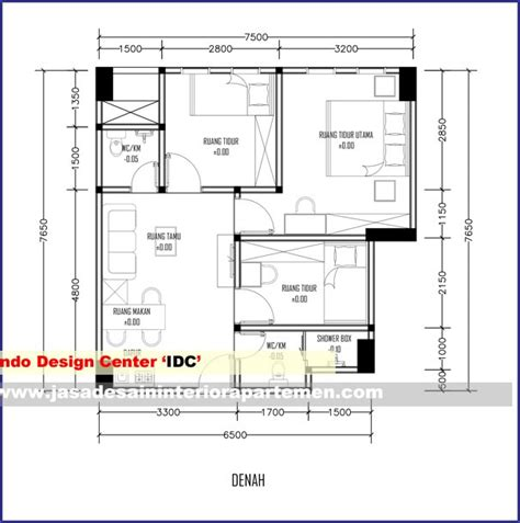 layout apartemen 2 kamar denah apartemen 2 kamar tidur 7 5 m x 7 65 m