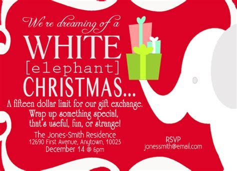 Party Invitations White Elephant At Minted Com White Elephant Invitations Templates