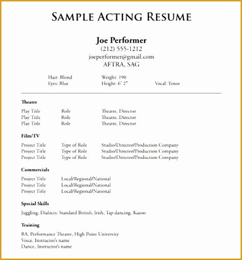 8 free acting resume no experience free sles