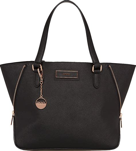 Dkny Dk034 Black Rosegold dkny saffiano leather tote in black black gold lyst
