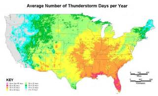 us lightning forecast map annual number of thunderstorm days in your city country