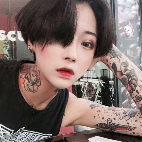 tattoo korea asia asian boyish and girl image ulzzang selfie