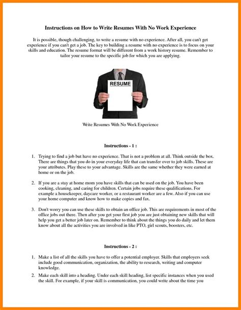 How To Write A Resume Without Any Experience by 9 How To Write A Resume Experience Riobrazil
