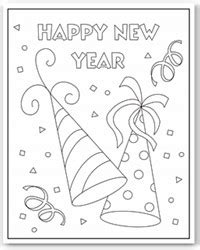 happy new year hat coloring page happy new year party hats coloring page church stuff