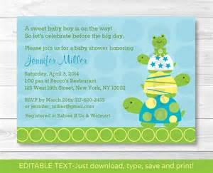 stacked turtle frog printable baby shower invitation editable pdf ebay