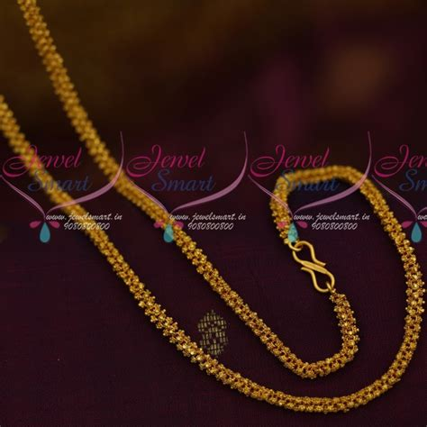 Handmade Gold Chain Designs - c11269 handmade matte finish 24 inches 5mm chain ghajiri