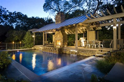 Backyard Living Pools Outdoor Living Ii Rustic Pool Dallas By Pool Environments Inc