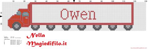 name pattern for cross stitch name oliver with truck cross stitch pattern 2816x948