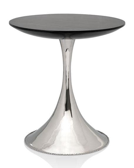 silver accent table black and silver pedestal accent table