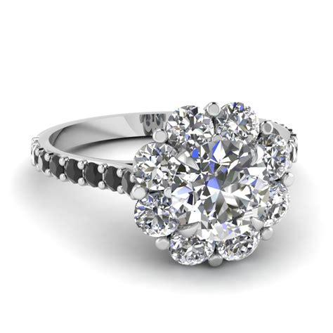 7 Engagement Rings From Since1910 by Cut Flower Halo Engagement Ring With Black
