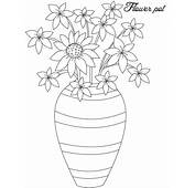 Hand Made Flower Vase Coloring Page  Sky