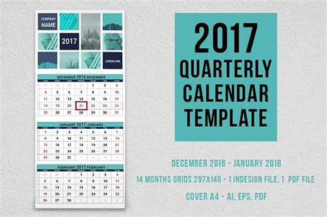 Calendar Template Indesign 2018 2017 Quarterly Calendar Template Stationery Templates
