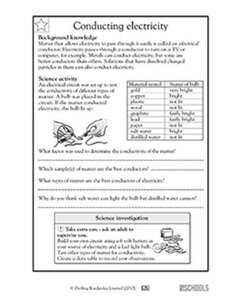 electricity conductors year 5 free printable 5th grade science worksheets word lists and activities page 2 of 9 greatschools