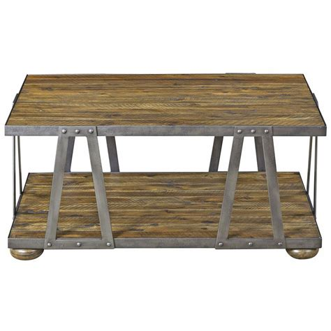 Rustic Wood And Metal Coffee Table Ida Rustic Lodge Acacia Wood Metal Coffee Table Kathy Kuo Home