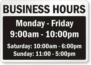 Business Hours Sign Template by Business Hours Signs