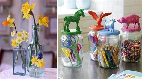 reciclar frascos de vidrio centros de mesa hermosos para