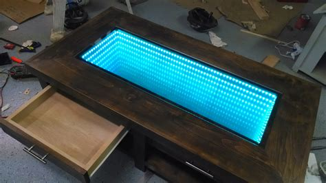 infinity mirror computer desk white infinity mirror coffee table diy projects