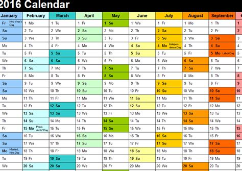2016 yearly color calendar my excel templates