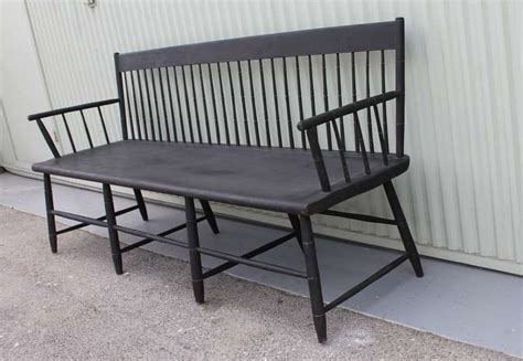 new settees 19th century black painted settee from new england at 1stdibs