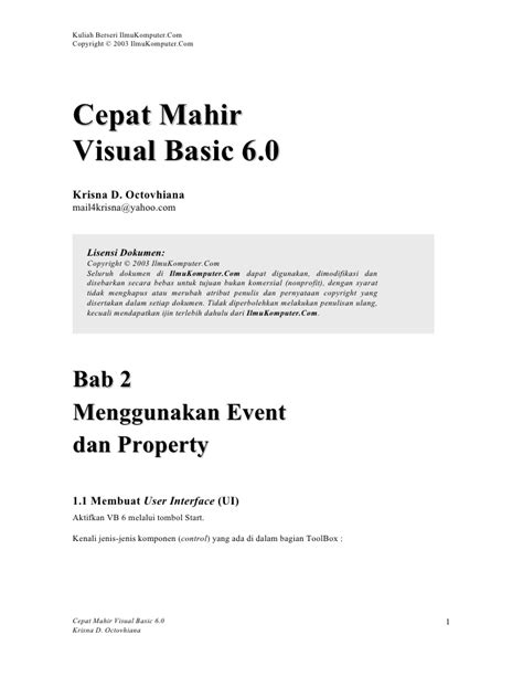 tutorial visual basic 6 tutorial visual basic 6 0