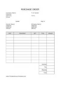 Free Printable Purchase Order Template by Purchase Order Template