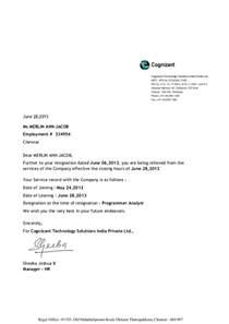 Experience Letter Cognizant Cognizant Separation Letter
