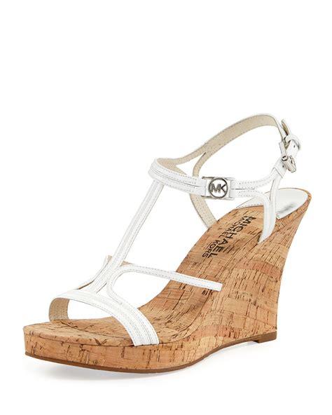 white sandal wedges michael michael kors cicely wedge sandal optic white
