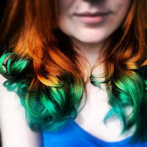 dip dyed red hairstyles natural red hair turquoise dip dye i would love to do
