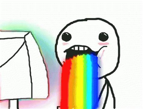 Throwing Up Rainbows Meme - rainbow vomit gif rainbow vomit discover share gifs