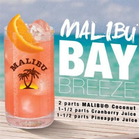malibu baybreeze malibu bay recipes liquors swim